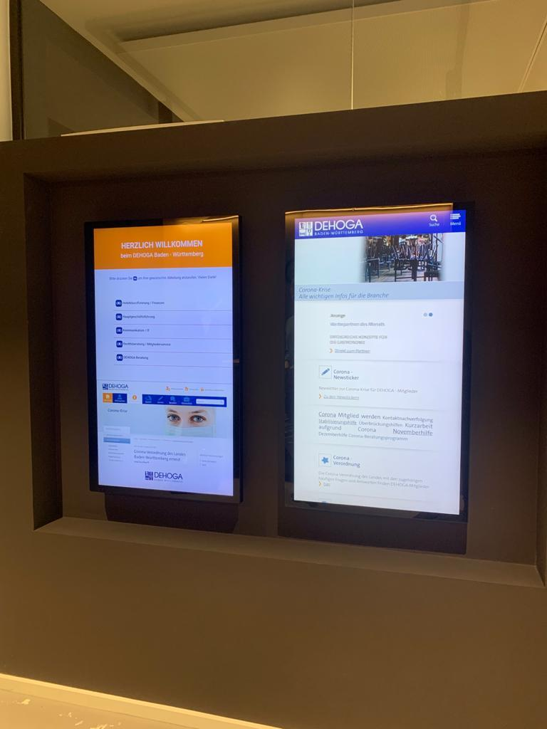 Installation of InfoPlay, our digital signage software in Dehoga Baden-Württemberg Hotel